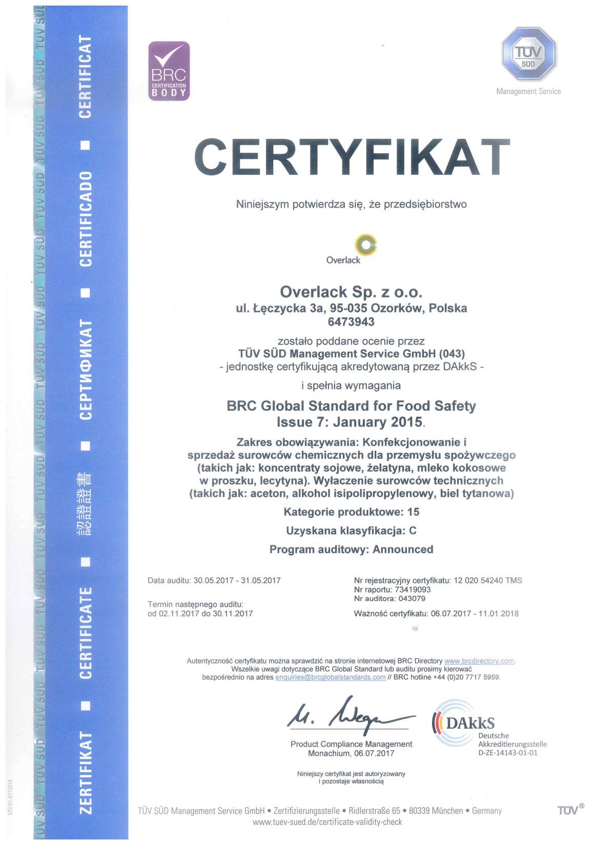 Certyfikaty BRC