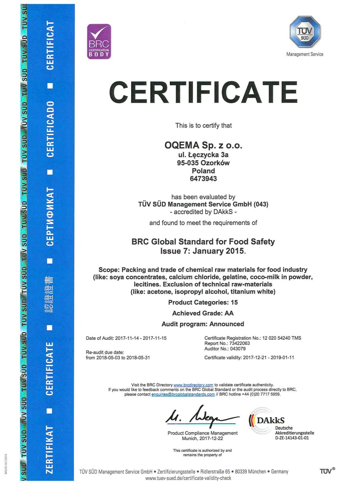Certyfikaty BRC EN