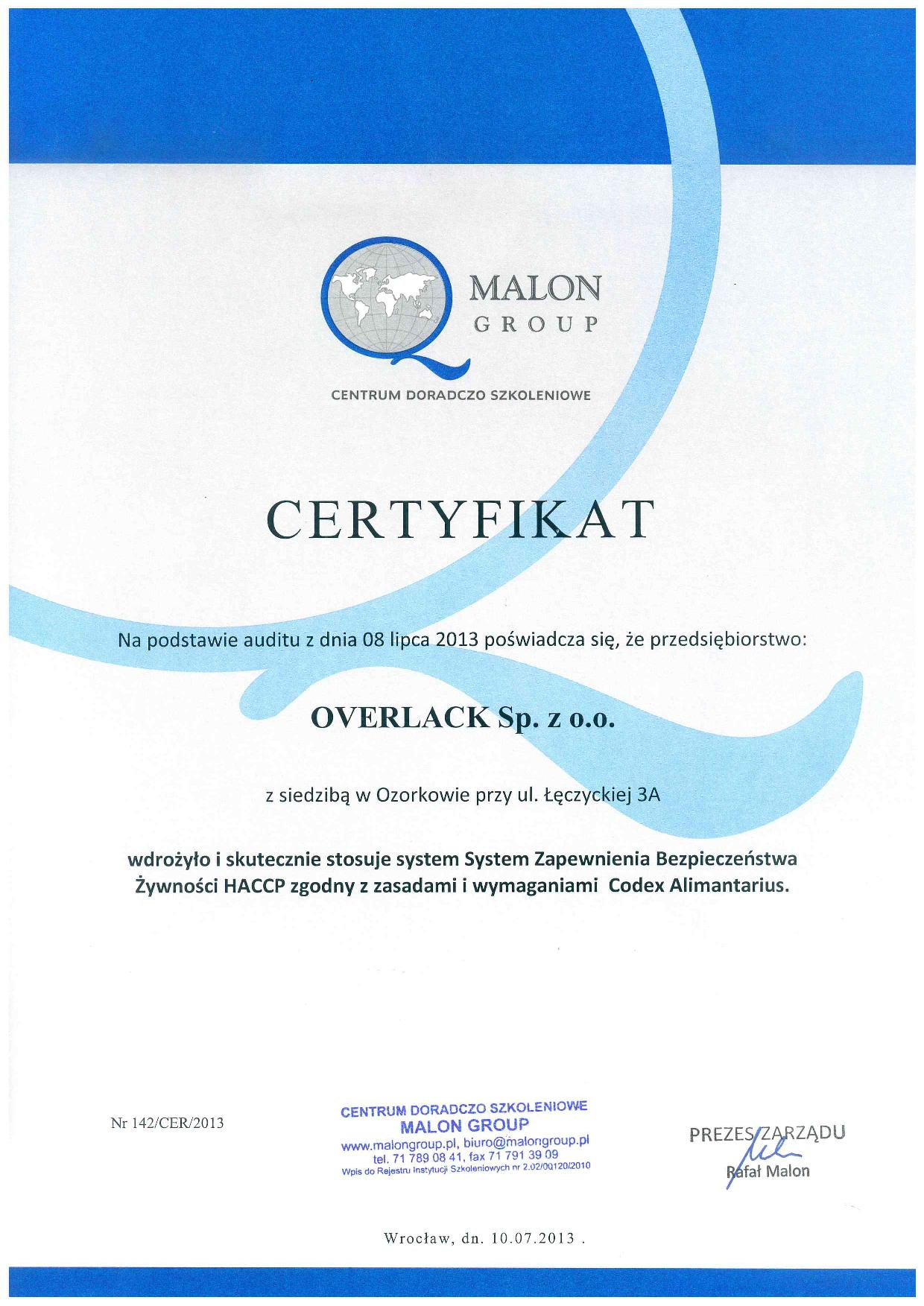 Certyfikaty HACCP