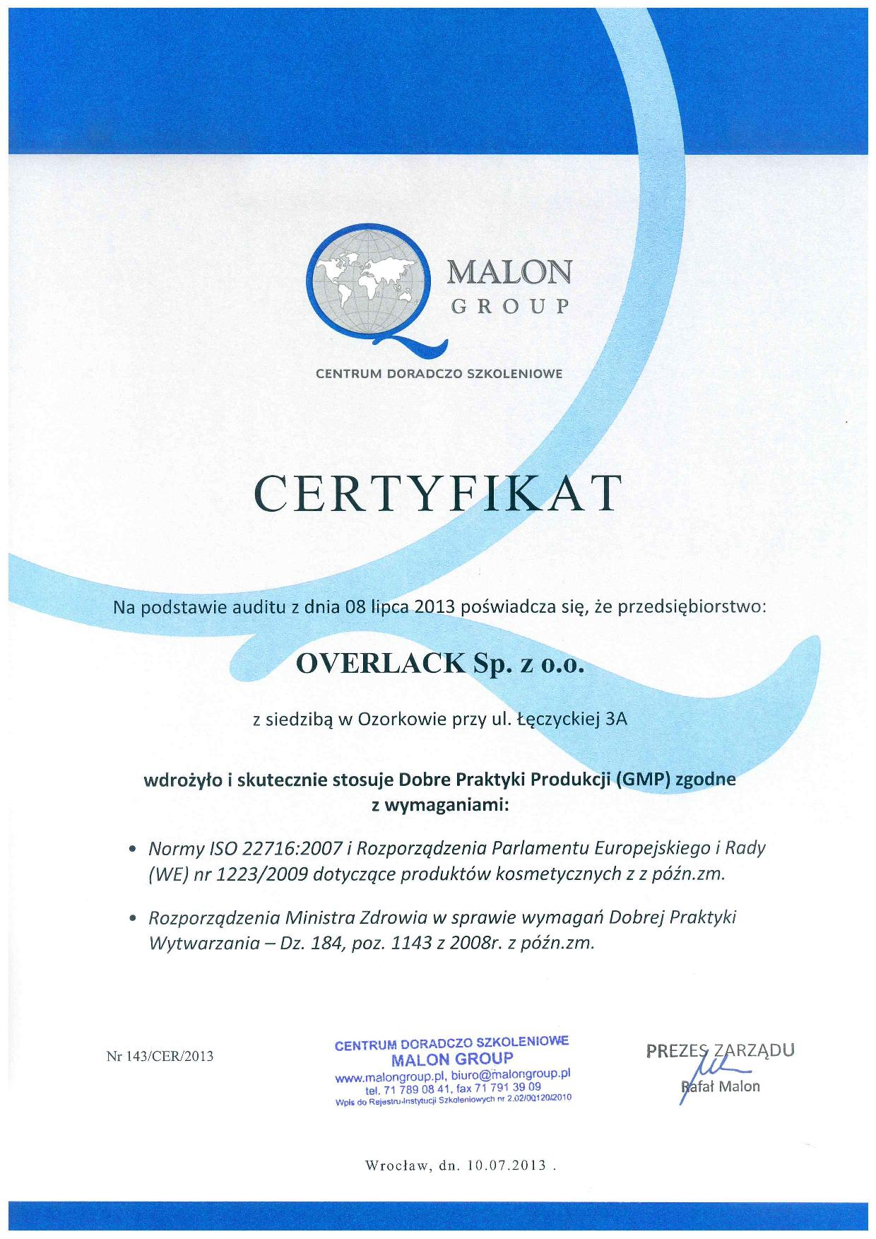 Certyfikaty GMP