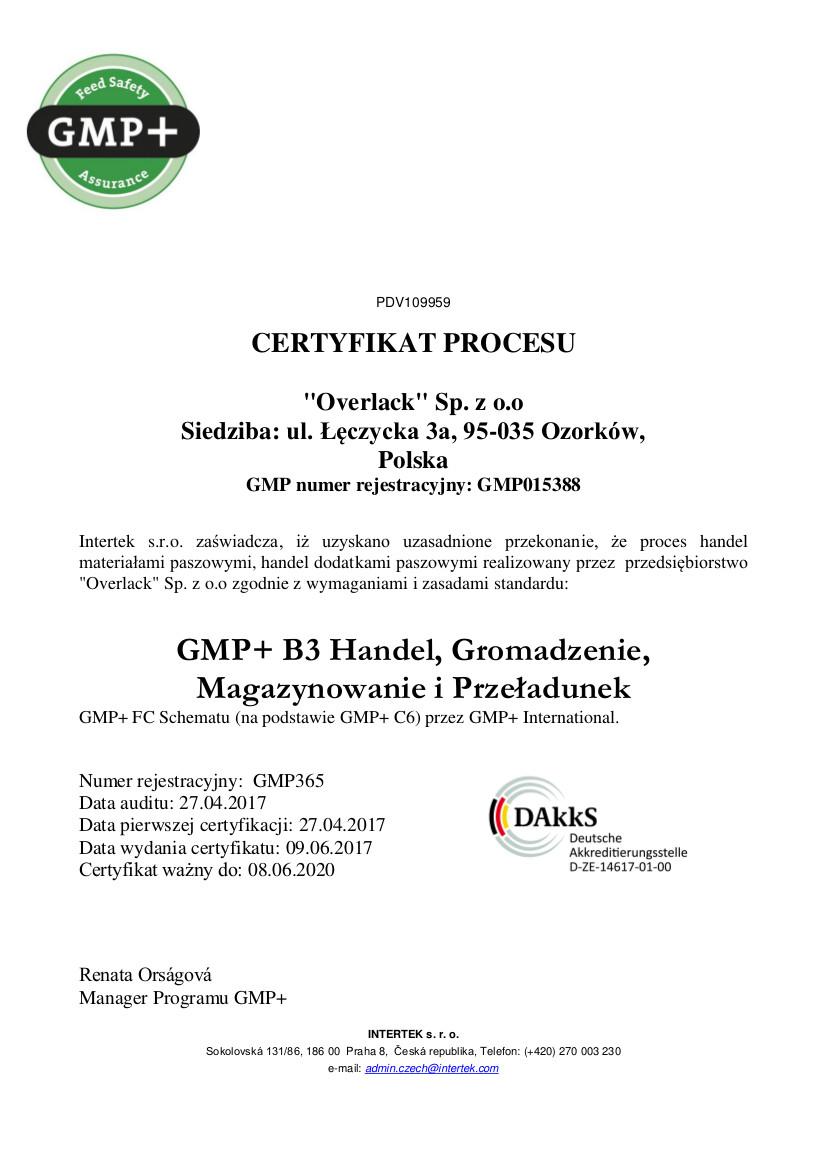 GMP+ certificate